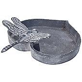 Grey Cast Iron 20cm Heart Garden Bird Bath Feeder Bowl with Dragonfly