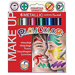 Playcolor Metallic Make Up Pocket 5g Face Paint Stick (Pack of 6 - Assorted Colours)