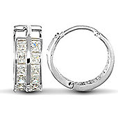 Jewelco London 9ct White Gold huggie hoop Earrings channel set with 2 rows of princess cut CZ stones