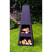 Made O'Metal Pyramid Chimenea Natural Fuel/ log burner Garden Fire, Medium - Black Steel.