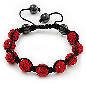 Unisex Ruby Red Swarovski Crystal Balls & Smooth Round Hematite Beads Shamballa Bracelet - 12mm - Adjustable