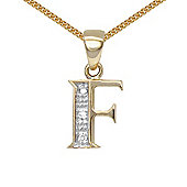 Jewelco London 9 Carat Yellow Gold Elegant Diamond-Set Pendant on an 18 inch Pendant Chain Necklace - Inital F