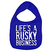 Dirty Fingers Life's a Rusky Business Baby Bib Royal Blue
