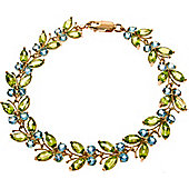 QP Jewellers 6in Blue Topaz & Peridot Butterfly Bracelet in 14K Rose Gold