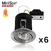 Pack of 6 MiniSun Fire Rated Tiltable GU10 Downlights in Brushed Chrome