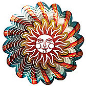 Iron Stop Designer Sun Blue Wind Spinner 10in Garden Feature