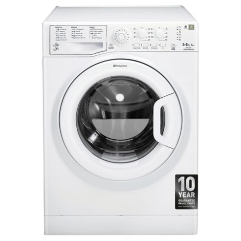 Hotpoint Aquarius WDAL8640P Freestanding Washer Dryer, 8Kg Wash Load, A Energy Rating, White