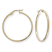 Jewelco London 9ct Yellow Gold - Square Tube Round Hoop Earrings -