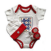 England Football Baby 3 Piece Set - Large Crest - White