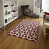 Think Rugs Hong Kong Red/Beige Tufted Rug - 120 cm x 170 cm (3 ft 9 in x 5 ft 7 in)