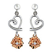 Silver & 9ct Rose Gold Cubic Zirconia Earrings