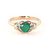 QP Jewellers Diamond & Emerald Halo Heart Ring in 14K Rose Gold