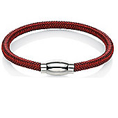 Mens Fred Bennett Red Steel Weave Bracelet