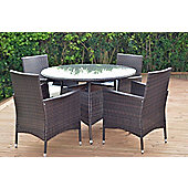 Malaga Round Rattan Garden Circular Dining Set & 4 Chairs Brown