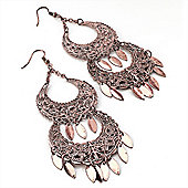 Long Copper Filigree Chandelier Earrings - 11cm Drop