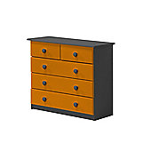 3 + 2 Chest of Drawers in Graphite and Orange