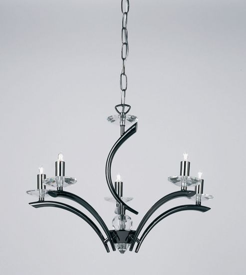 Endon Lighting Five Light Chandelier in Black Chrome