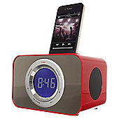 Kitsound Radio Clock Dock for iPhone 4/4s, Red