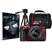 Nikon D5200 Red SLR Kit inc 18-55mm VR Lens, Case, Tripod & Adobe Lightroom