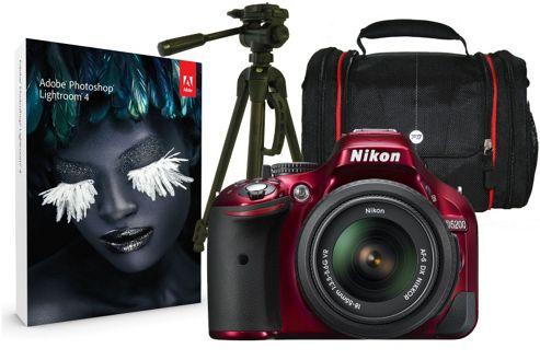 Nikon D5200 Red SLR Kit inc 18-55mm VR Lens, Case, Tripod & Adobe Lightroom
