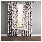 "Hand Painted Floral Pencil Pleat Curtains W162xL137cm (64x54""), Natural"