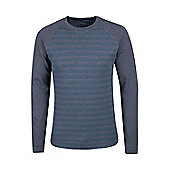 Mountain Warehouse Waffle Mens Long Sleeve Stripe T-Shirt - Blue