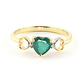 QP Jewellers Diamond & Emerald Trinity Heart Ring in 14K Gold