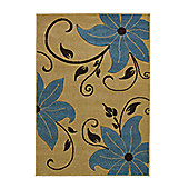 Think Rugs Verona Beige/Blue Hand Carved Rug - 60 cm x 120 cm (2 ft x 4 ft)