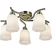Endon Lighting Alonso Five Light Semi Flush Mount in Antique Brass