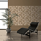 Muriva Wood Letters Wallpaper - Brown