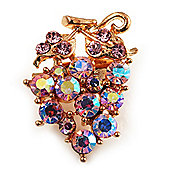 Tiny Grape-Design Light Pink Crystal Pin Brooch (Gold Tone)