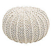 Kaikoo Knitted Ribbed Pouffe, Natural