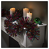 Festive Tricolour Tinsel, Jade & Flash Pink & Sienna Orange, 10m X 150mm