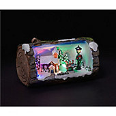 Carol Singers Illuminated & Animated Christmas Log