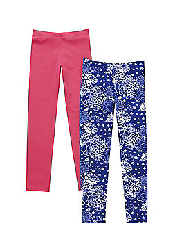 F&F 2 Pack of Floral and Plain Leggings - Blue multi & Pink