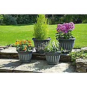 Georgian Style Planters, Black with White Wash, Pack of 4