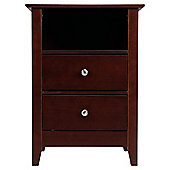 Winton 2 Drawer Bedside Table, Chocolate