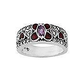 Gemondo Sterling Silver Amethyst & Marcasite Enamel Butterfly Ring