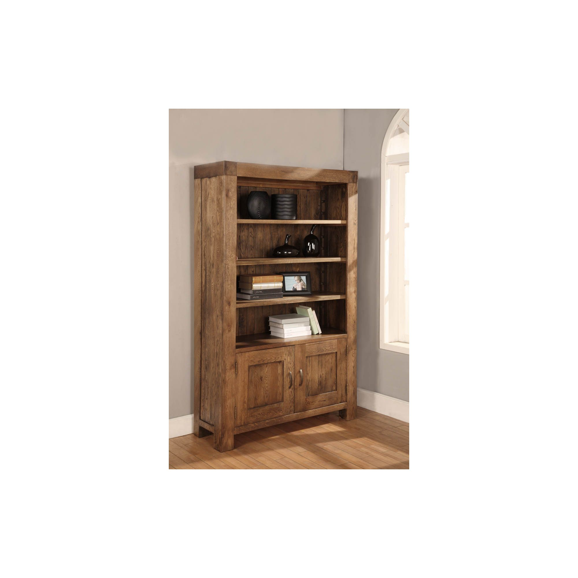 Hawkshead Santana 2 Door Bookcase with 2 Adjustable Shelves in Rich Patina at Tesco Direct