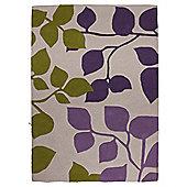 Tesco Bold Leaf Rug Plum/Olive 120X170Cm