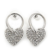Romantic Crystal 'Heart' Drop Earrings In Silver Plating - 3.5cm Length