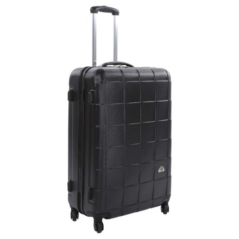 Beverly Hills Polo Club 4-Wheel Hard Shell Suitcase, Black Square Print Medium
