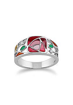 Gemondo 925 Sterling Silver 0.03ct Colourless Topaz Rennie Mackintosh Ring