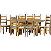 Corona Extending Dining Set (1+8) Distressed Waxed Pine/Cream PU