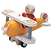 Plan Toys Classic Aeroplane with Pilot ,wooden toy