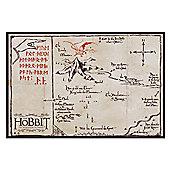 The Hobbit Gloss Black Framed Mountain Map Poster
