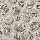 Muriva Fossils Wallpaper - Natural - J86209