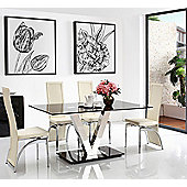 Vidal Black Glass 160 cm Dining Table with 4 Ivory Alisa Chairs