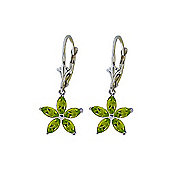 QP Jewellers 2.80ct Peridot Flower Star Earrings in 14K White Gold