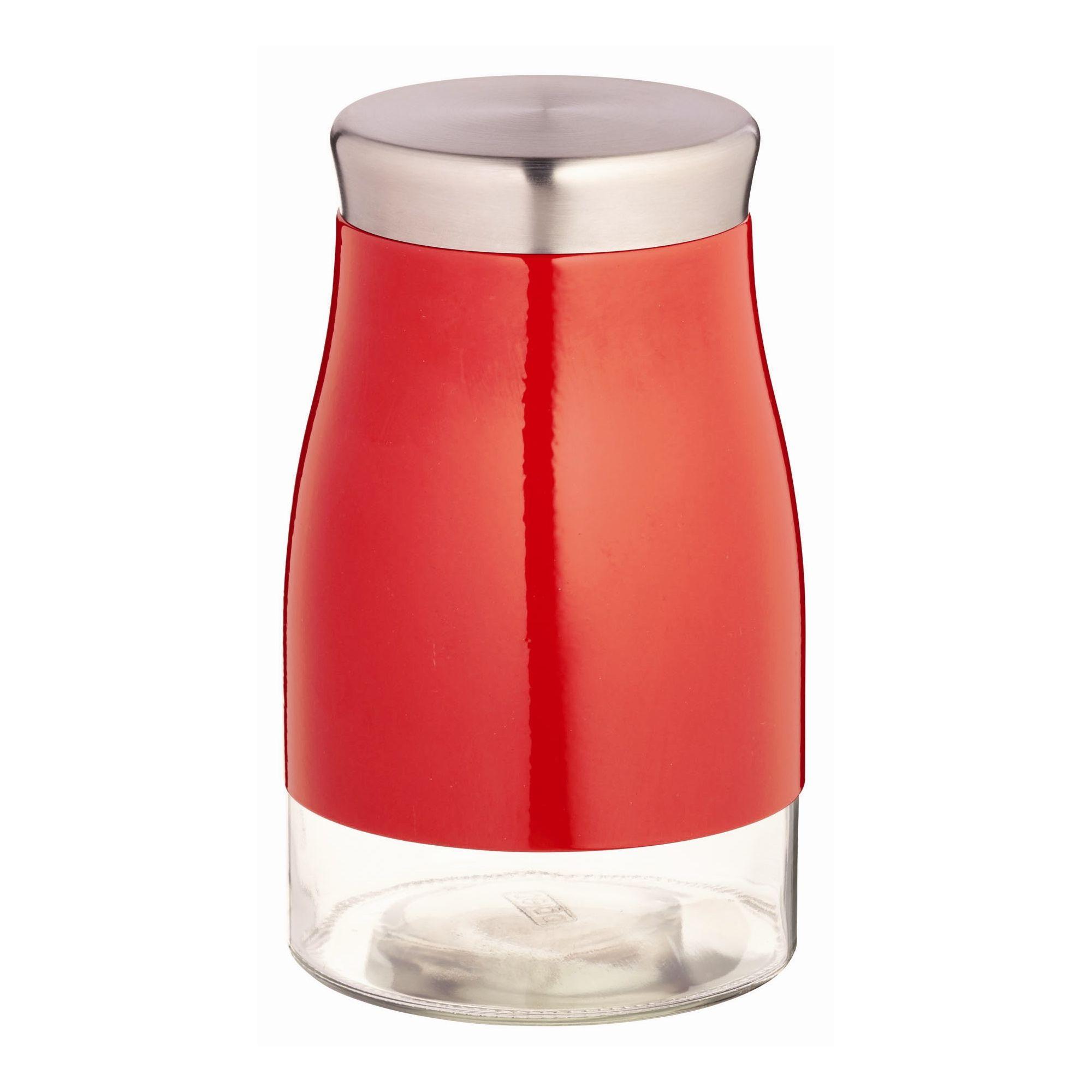 KitchenCraft Metro Kitchen Storage Jar with Coloured Band in Red - 1300 ml